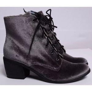 Dolce Vita Boots Velvet Bardot Charcoal Gray Heel